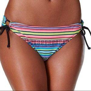 Hula Honey stripe side tie bikini bottoms